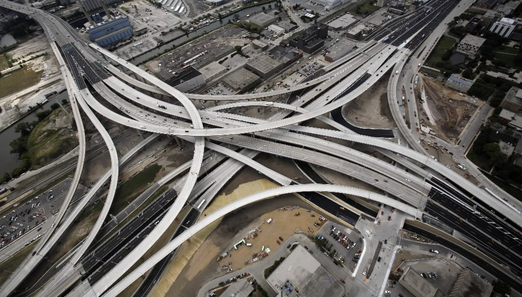 The new Marquette Interchange is shown in this aerial photograph taken Thursday, Aug, 14, 2008.