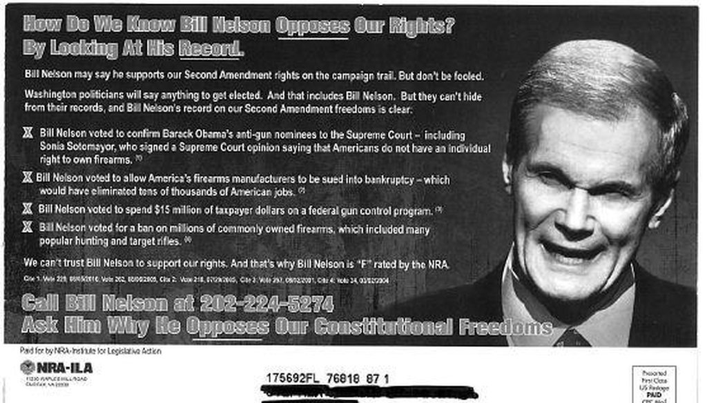 THE NRA goes after Sen. Bill Nelson's positions on guns in this mailer.