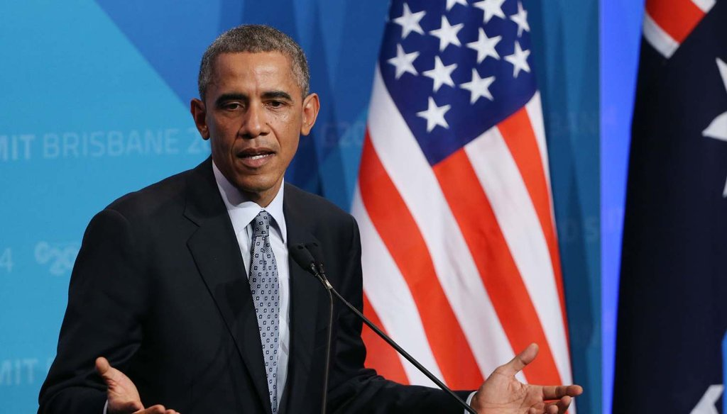 President Barack Obama touted the United States' economic recovery at a press conference following the G20 summit in Brisbane, Australia Nov. 16. Photo credit: AP