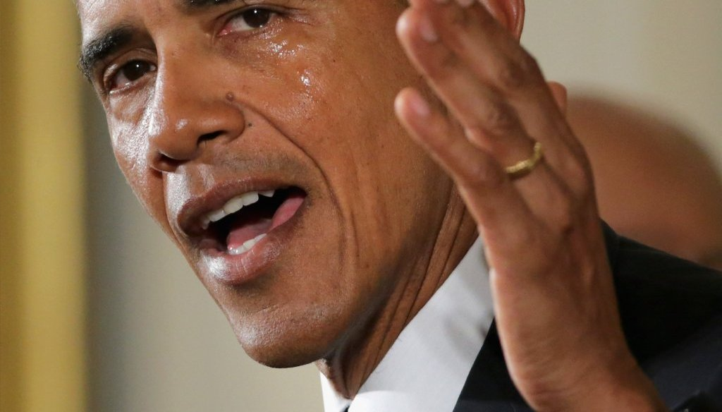 President Barack Obama sheds tears as he talks about the victims of the 2012 Sandy Hook Elementary School shooting during a press conference about his executive actions on federal gun control on Jan. 5, 2016, in Washington. (Getty Images)