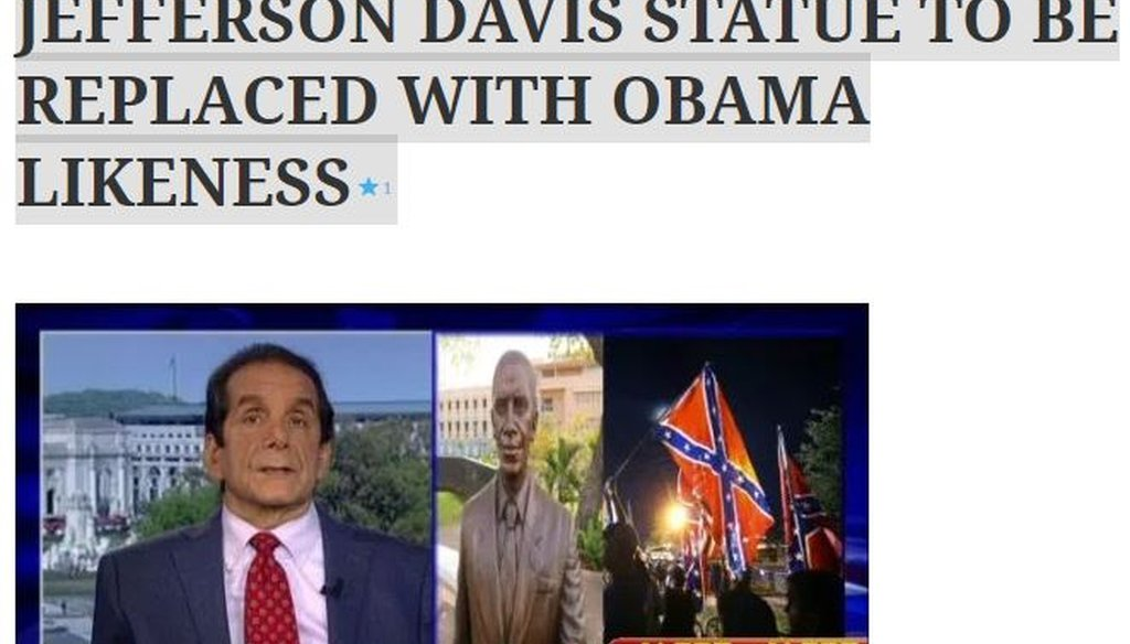 A fake article that said New Orleans was replacing a statue of Confederate President Jefferson Davis with one of former U.S. President Barack Obama came from a website pretending to be affiliated with Fox News Channel.