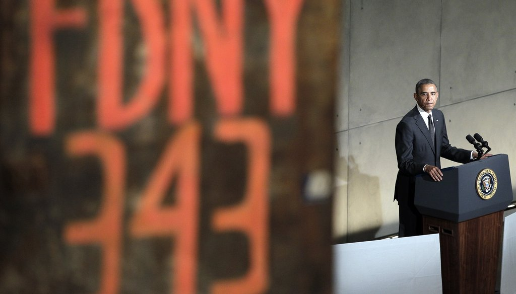 President Barack Obama gives remarks at the dedication ceremony for the National September 11 Memorial Hall and Museum, which opens to the public May 21. Getty photo.
