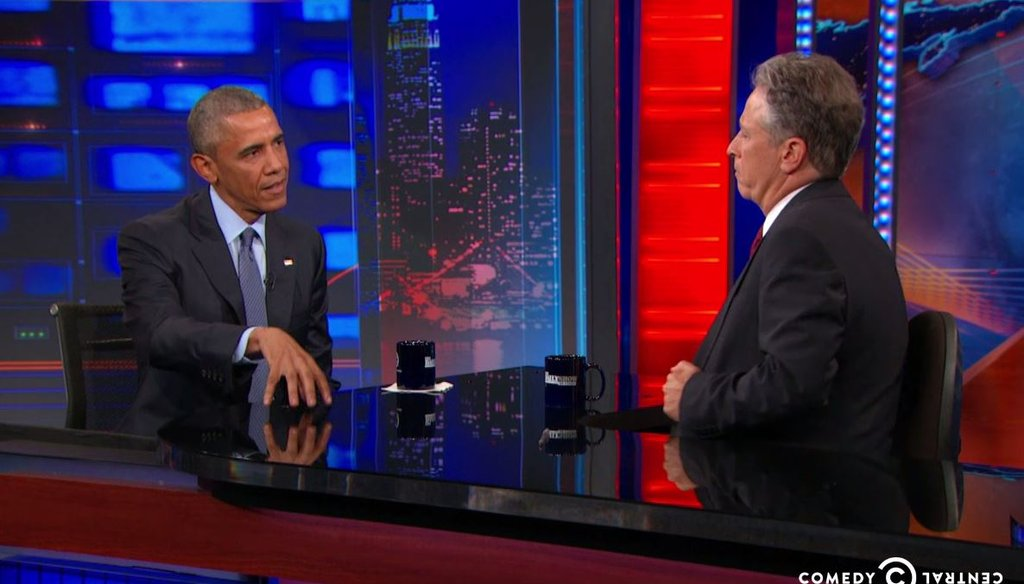 """Jon Stewart interviews President Barack Obama on July 21, 2015, in what was the president's final interview with Stewart as the host of """"The Daily Show."""" (Screenshot from Comedy Central video)"""
