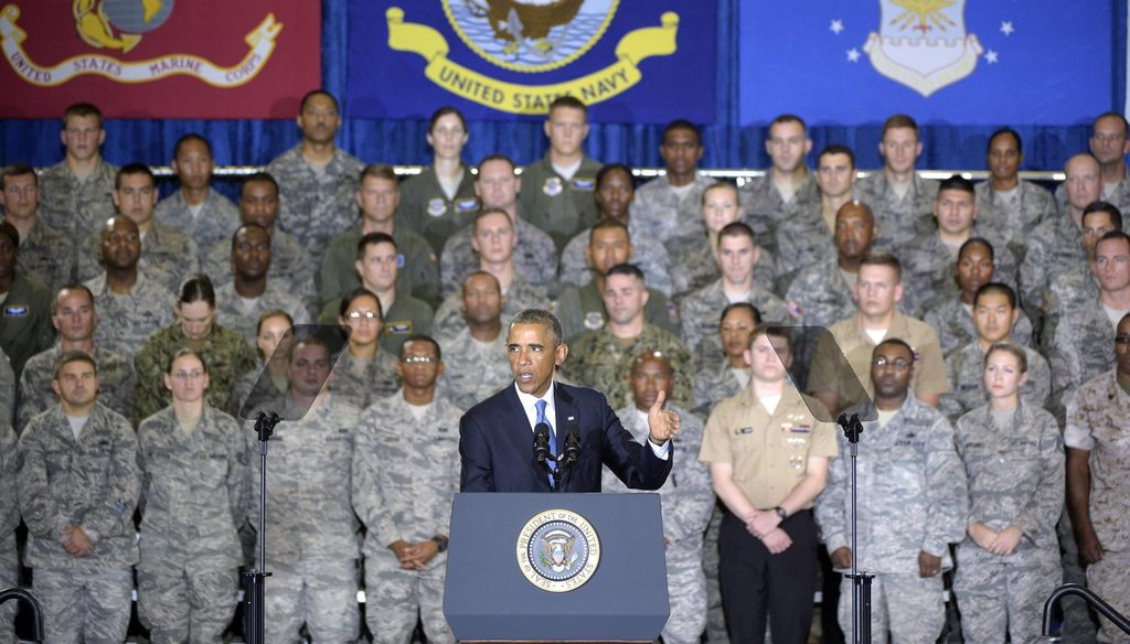 President Barack Obama addresses a crowd at U.S. Central Command at MacDill Air Force Base in Tampa, Fla., on Sept. 17, 2014. AP photo.