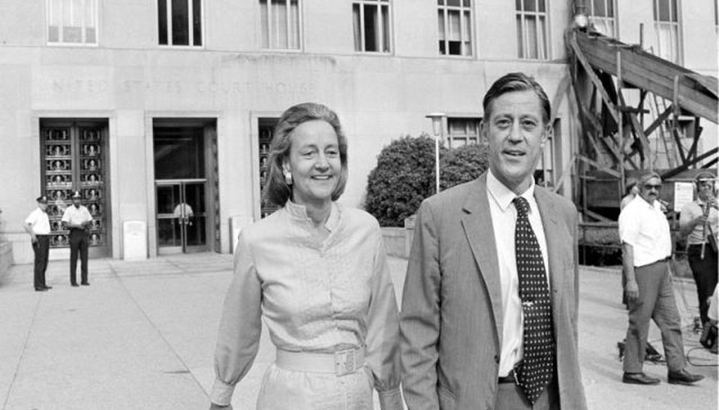 In this June 21, 1971 file photo, Washington Post Executive Director Ben Bradlee and Post Publisher Katharine Graham leave U.S. District Court in Washington (AP Photo, File).