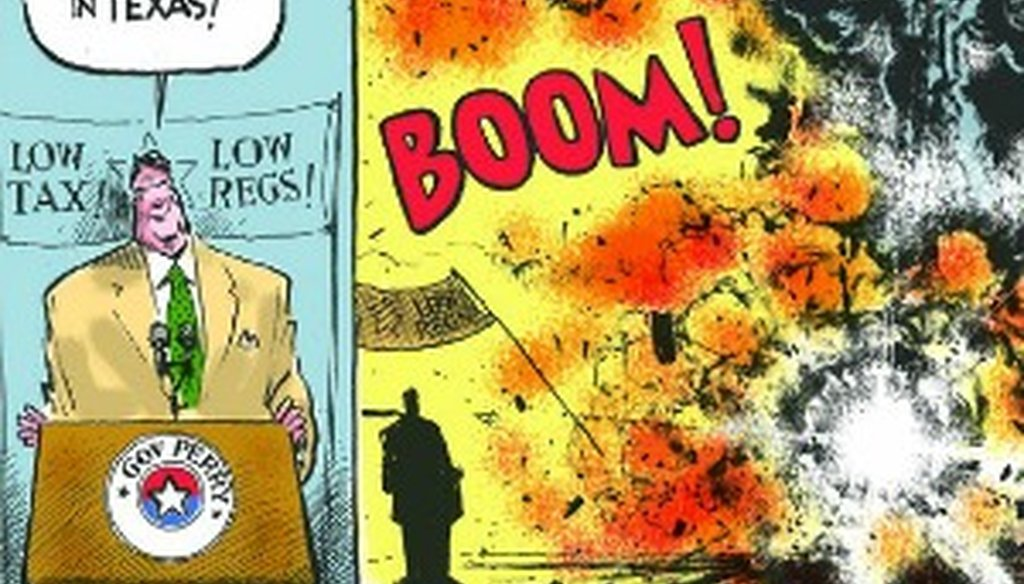 Editorial cartoonist Jack Ohman's depiction of Gov. Rick Perry and the explosion of a plant in West, Texas, appeared April 25, 2013 in California's Sacramento Bee.