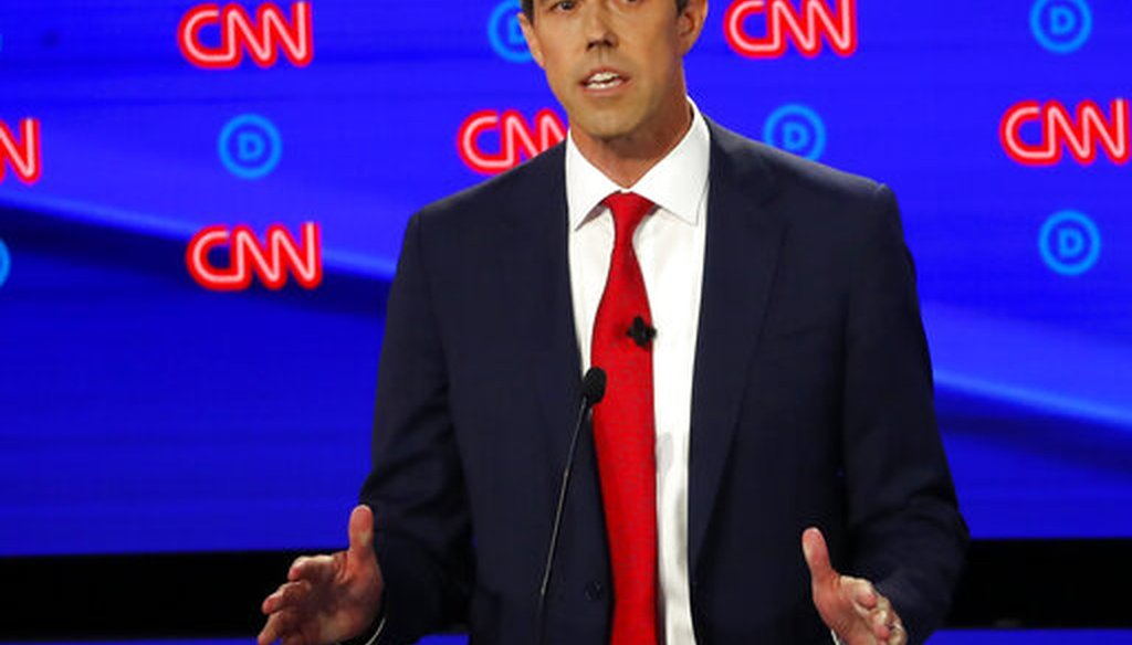 Former Texas Rep. Beto O'Rourke participates in the first of two Democratic presidential primary debates (AP).