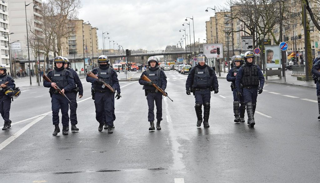 Police in Paris searched for two suspects tied to the massacre of a satirical newspaper's staff amid reports of a hostage situation at Port de Vincennes on Friday. Getty.