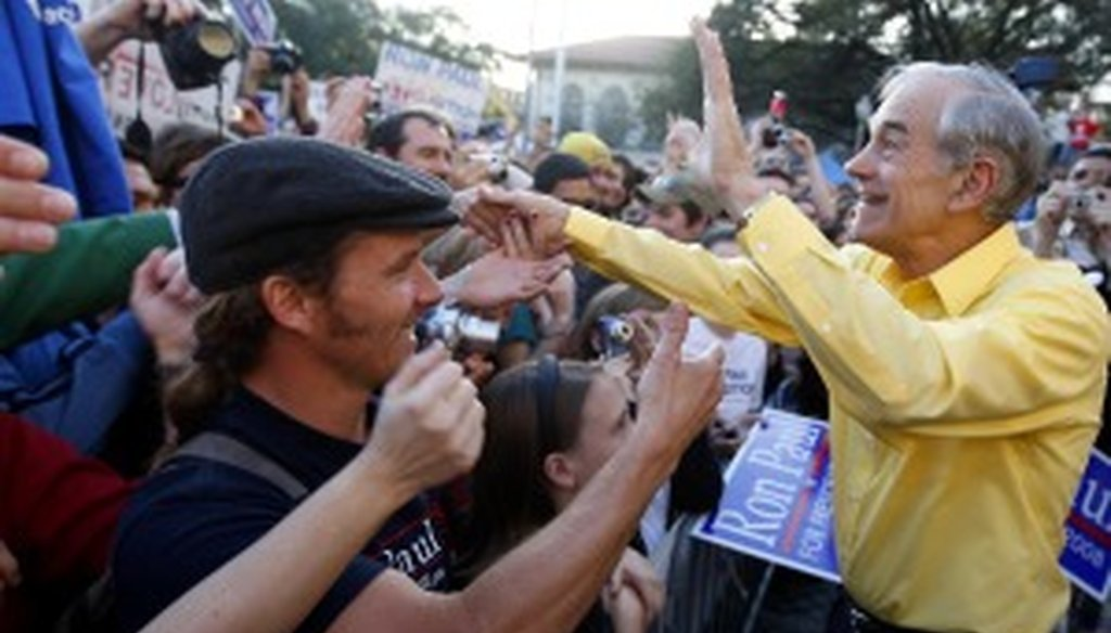 U.S. Rep. Ron Paul greets supporters during his 2008 presidential run.