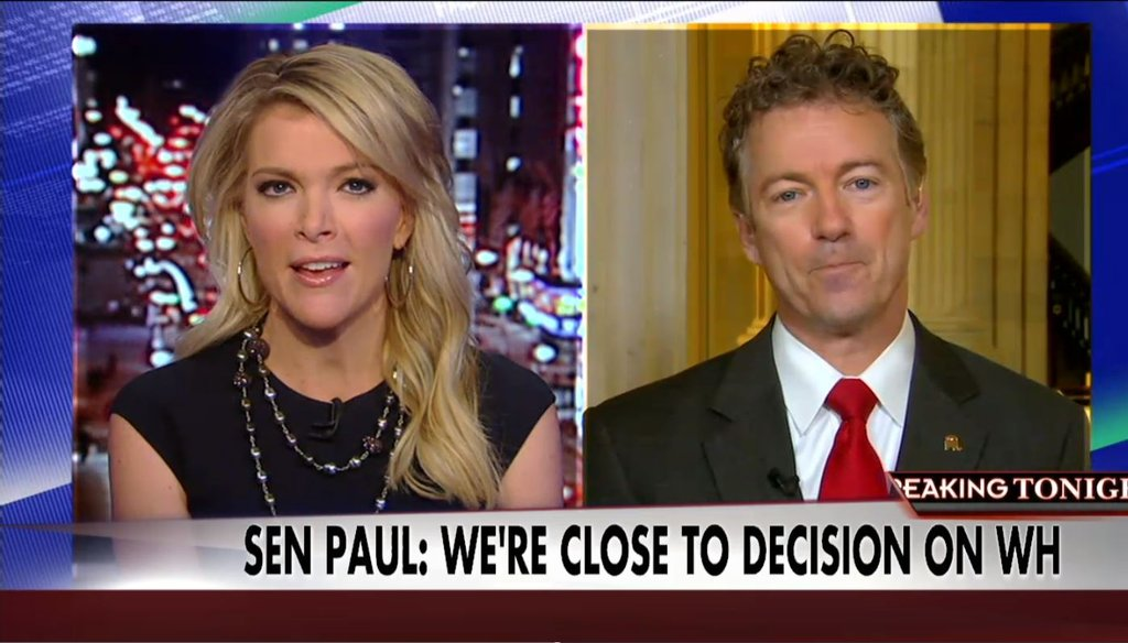 """Sen. Rand Paul, R-Ky., appeared on Fox News' """"The Kelly File"""" March 24, 2015, where he talked about his pending decision to run for president in 2016."""