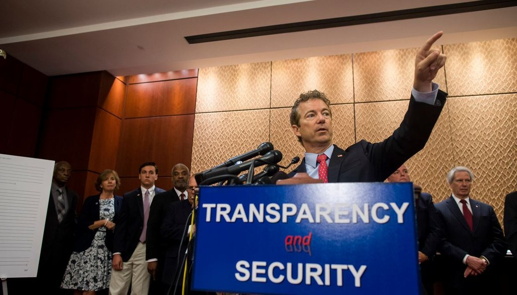 Sen. Rand Paul, R-Ky., during a news conference at the Capitol in Washington, June 2, 2015. (Zach Gibson/The New York Times)