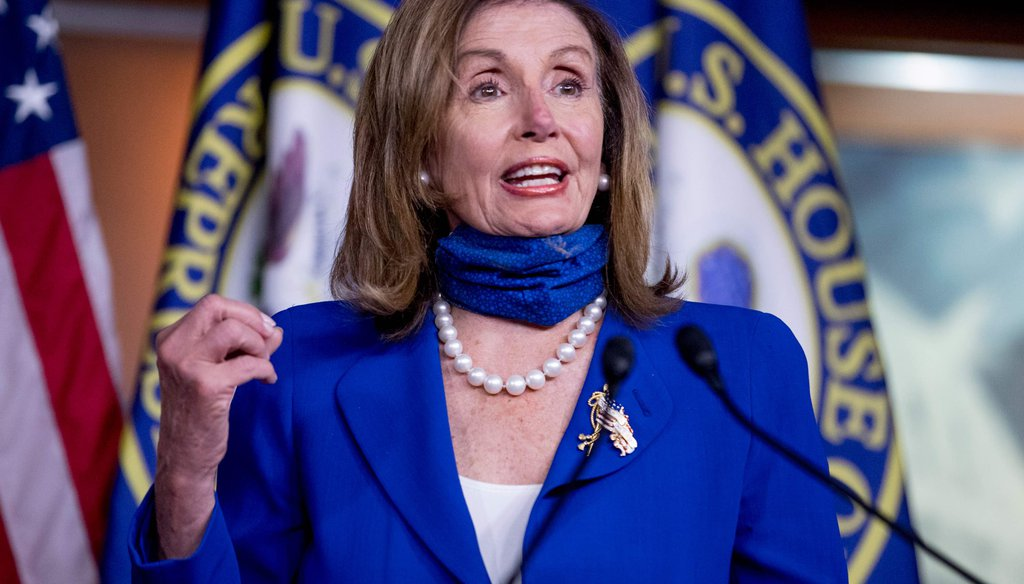 In this July 29, 2020, file photo House Speaker Nancy Pelosi of California speaks at a press conference on Capitol Hill in Washington. (AP)
