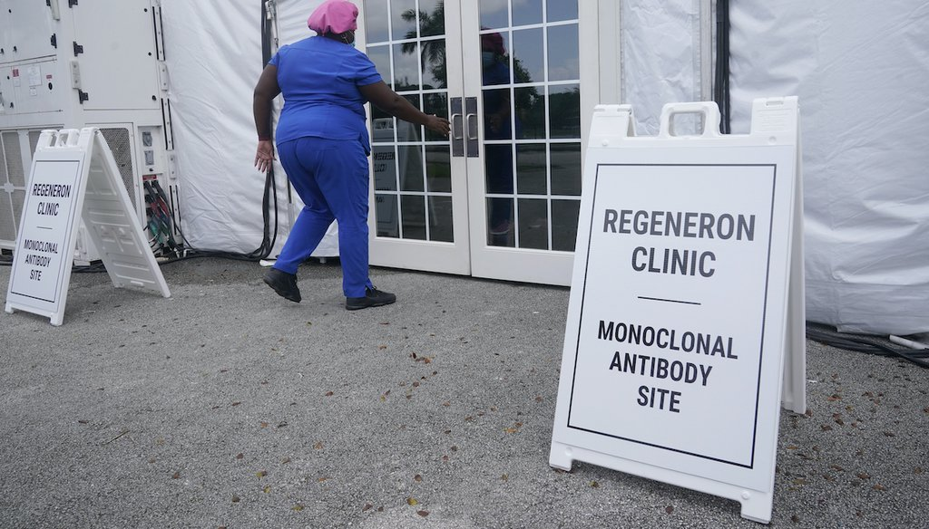 A nurse enters a monoclonal antibody site, Aug. 18, 2021, at C.B. Smith Park in Pembroke Pines. Numerous sites are open around the state offering monoclonal antibody treatment sold by Regeneron to people who have tested positive for COVID-19. (AP)