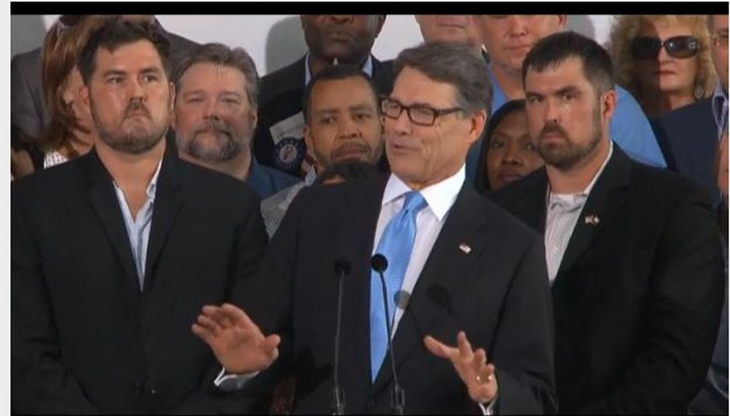 Former Gov. Rick Perry announces his fresh bid for president near Dallas June 4, 2015 (Screen grab of CBS News video feed).