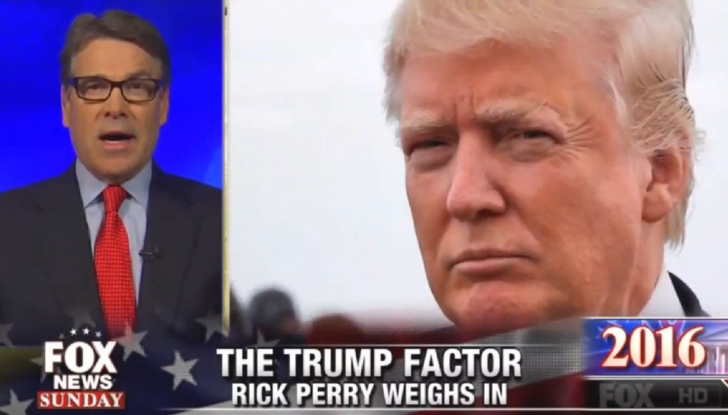"""Former Texas Gov. Rick Perry says Donald Trump is not a true conservative despite leading the GOP polls on """"Fox News Sunday"""" on Aug. 2, 2015."""