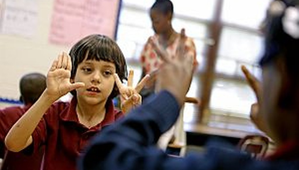Second-grade Atlanta Public Schools students work through a math lesson in advance of CRCT standardized testing. A national union official criticized the time schools spend preparing for and administering the tests. (AP Photo/David Goldman)