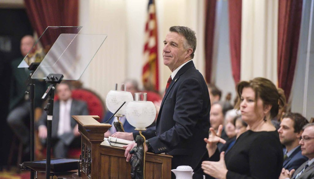 Vermont Gov. Phil Scott delivers his budget address in the House chamber on Thursday. Photo by Glenn Russell/VTDigger