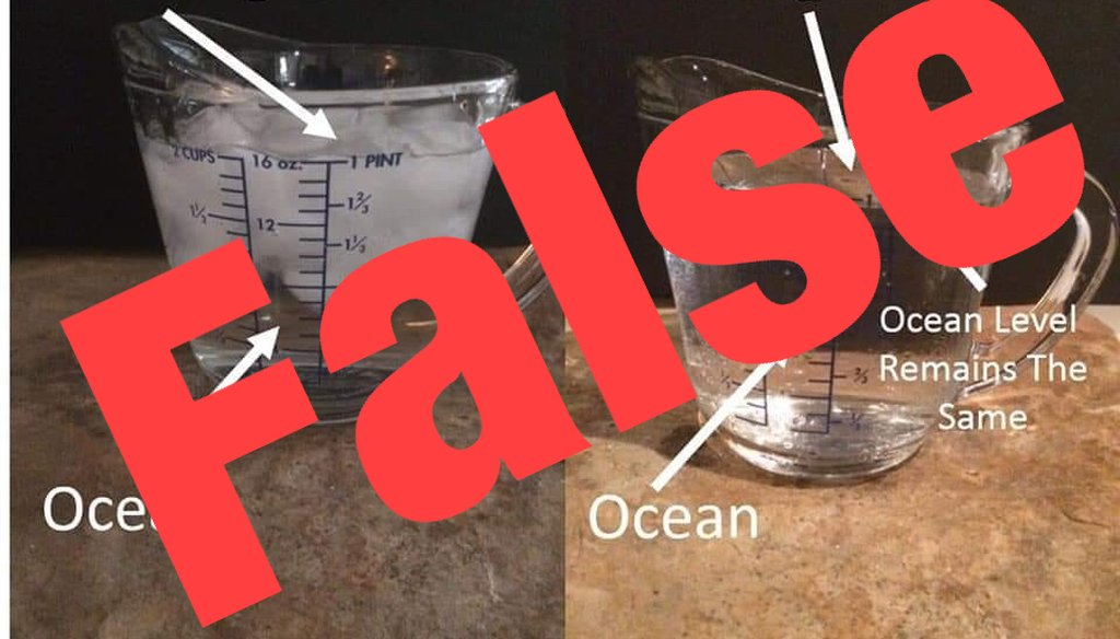 This viral photo circulating on social media suggests that ice melting in a cup illustrates that sea levels don't rise when icebergs melt. But the image makes a false comparison. We rate it False.