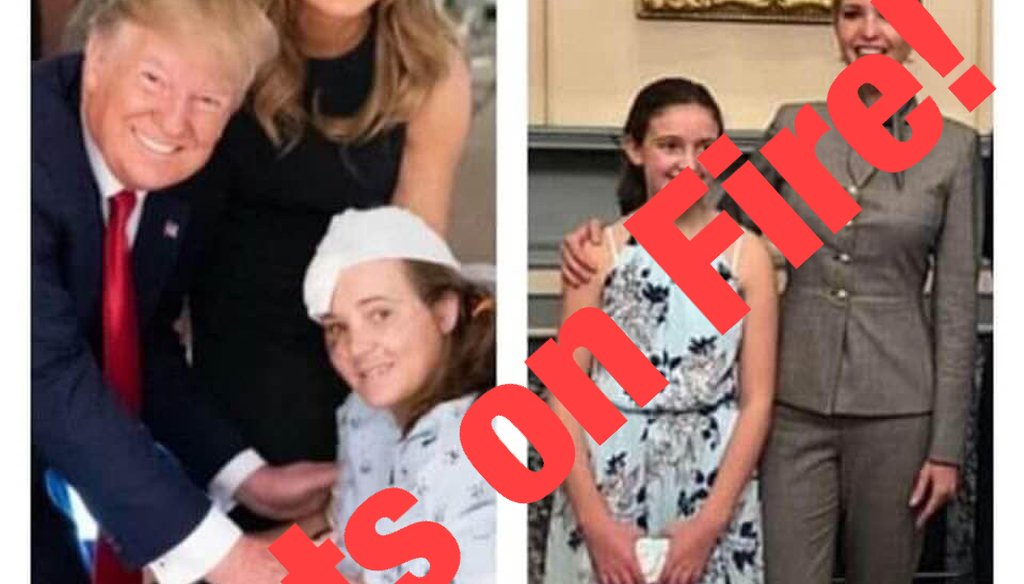 This image shared on Facebook says that the daughter of a former White House employee posed as a victim of a mass shooting. We rate this Pants on Fire!
