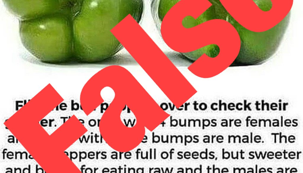 A viral image on Facebook claims that bell peppers have genders. We rate this claim False.