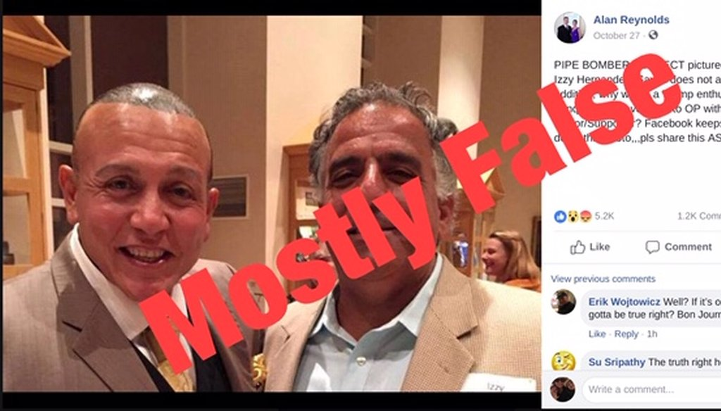 "A viral photo posted to Facebook claims to depict accused pipe bomb suspect Cesar Sayoc with a ""Democrat Donor."" But that fellow he's with is an old soccer buddy and there's no evidence he's a political donor."