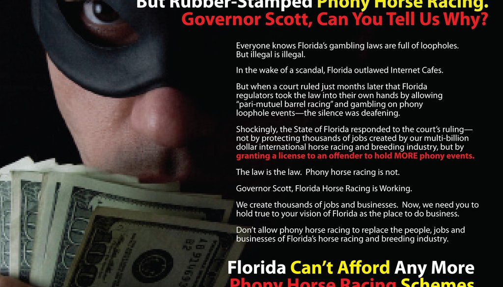 """An ad by United Horsemen Florida decries Florida's gambling laws and """"phony horse racing."""""""