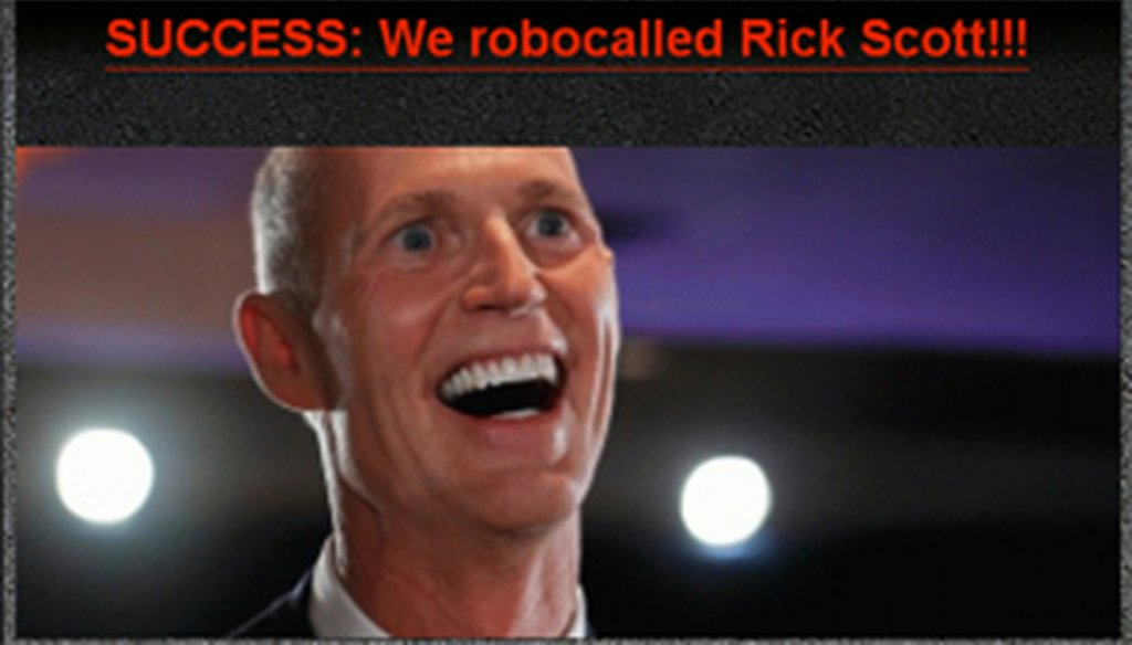 A screen shot from the Pink Slip Rick website, touting their robocalls to Gov. Rick Scott.