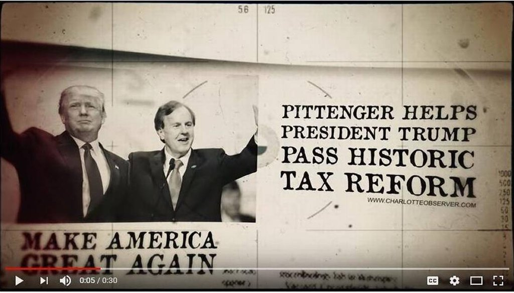 """In an attack ad, Rep. Robert Pittenger accuses his Republican primary rival of trying to """"stop Trump"""" in 2016."""