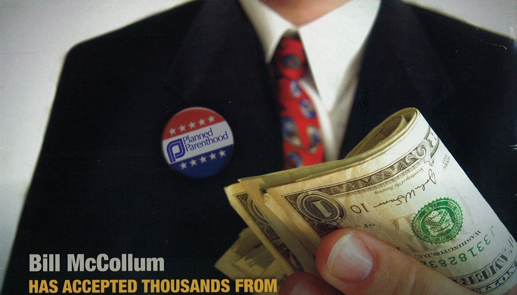 "Rick Scott says Bill McCollum took ""thousands"" from Planned Parenthood lobbyists."