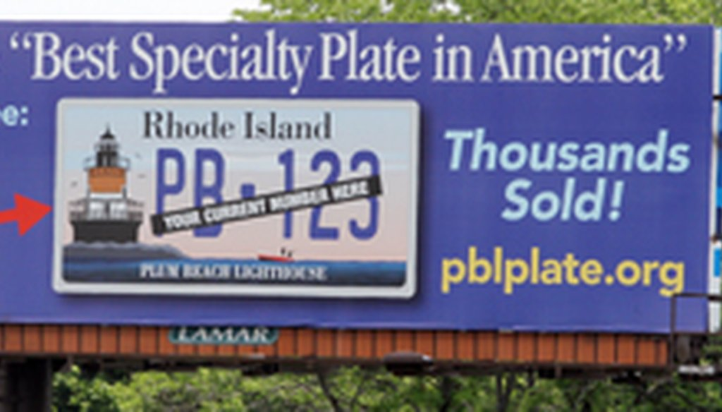 Billboard advertising the Plum Beach Lighthouse license plate.