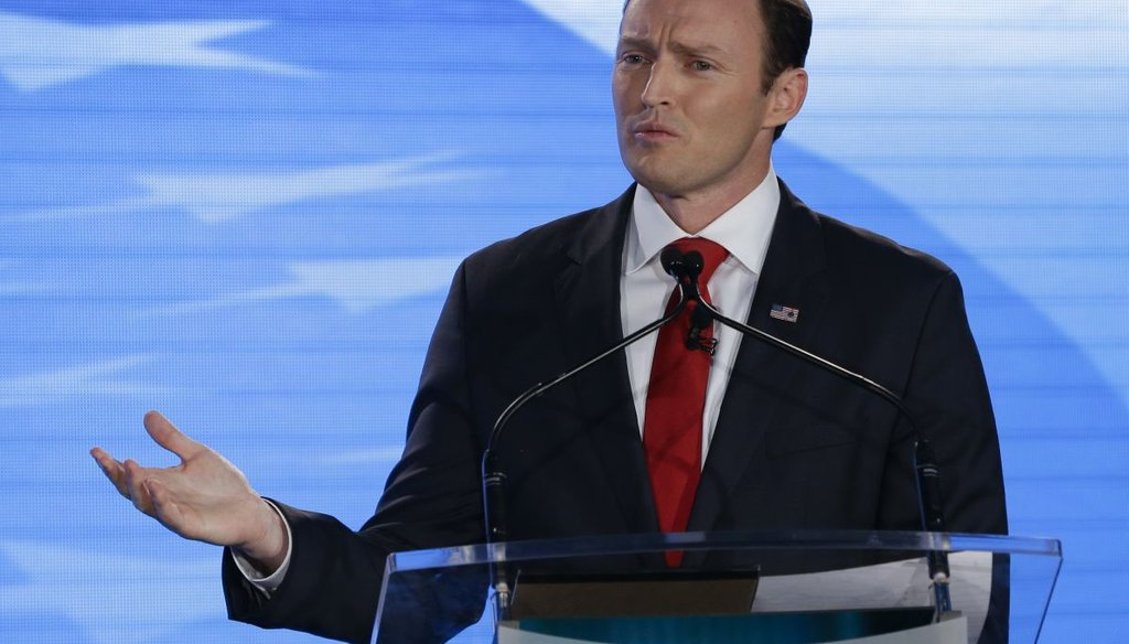 Rep. Patrick Murphy, D-Fla., speaks during a debate with Sen. Marco Rubio, R-Fla., at the University of Central Florida, Monday, Oct. 17, 2016, in Orlando, Fla. (AP photo)