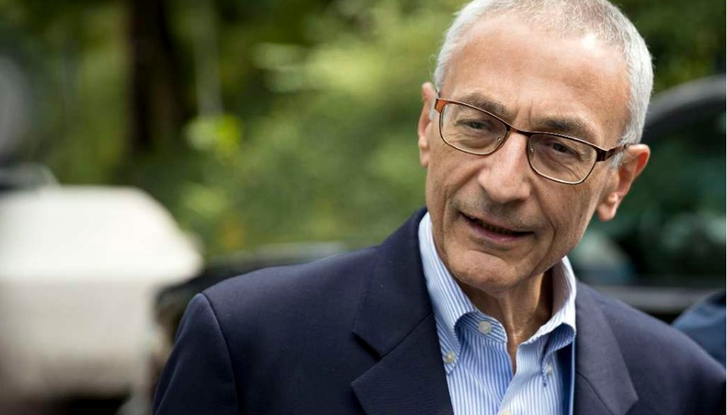 In this Oct. 5, 2016, photo, Hillary Clinton campaign chairman John Podesta speaks to reporters in Washington. The WikiLeaks organization on Oct. 7, posted what it said were thousands of emails from Podesta. (AP Photo/Andrew Harnik)