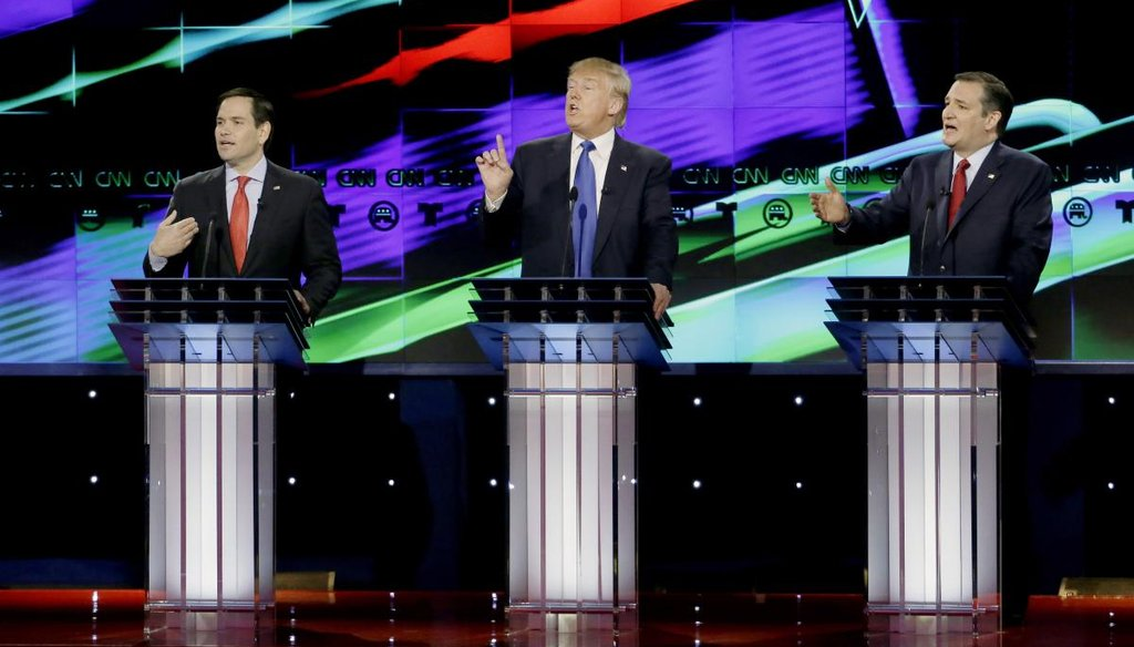 From left, Republican presidential candidate, Sen. Marco Rubio, R-Fla., Republican presidential candidate, businessman Donald Trump and Republican presidential candidate, Sen. Ted Cruz, R-Texas. (AP)