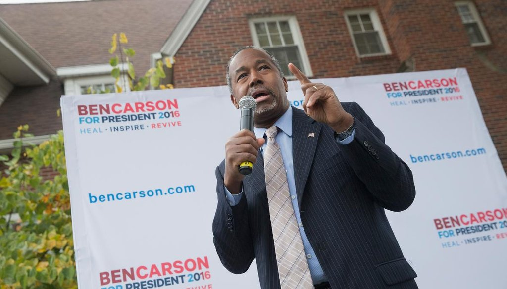 Ben Carson speaks at Iowa State University on Oct. 24, 2015 in Ames, Iowa. A recent poll indicates that Carson has surged past Donald Trump to lead the race for the Republican presidential nomination in Iowa. (Photo by Getty Images)