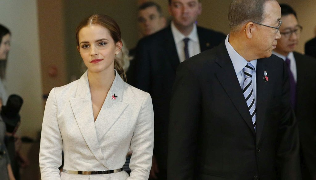 UN Women Goodwill Ambassador Emma Watson walks next to United Nations Secretary General Ban Ki-moon, while they attend the HeForShe campaign launch at the United Nations on September 20, 2014. (Getty Images)