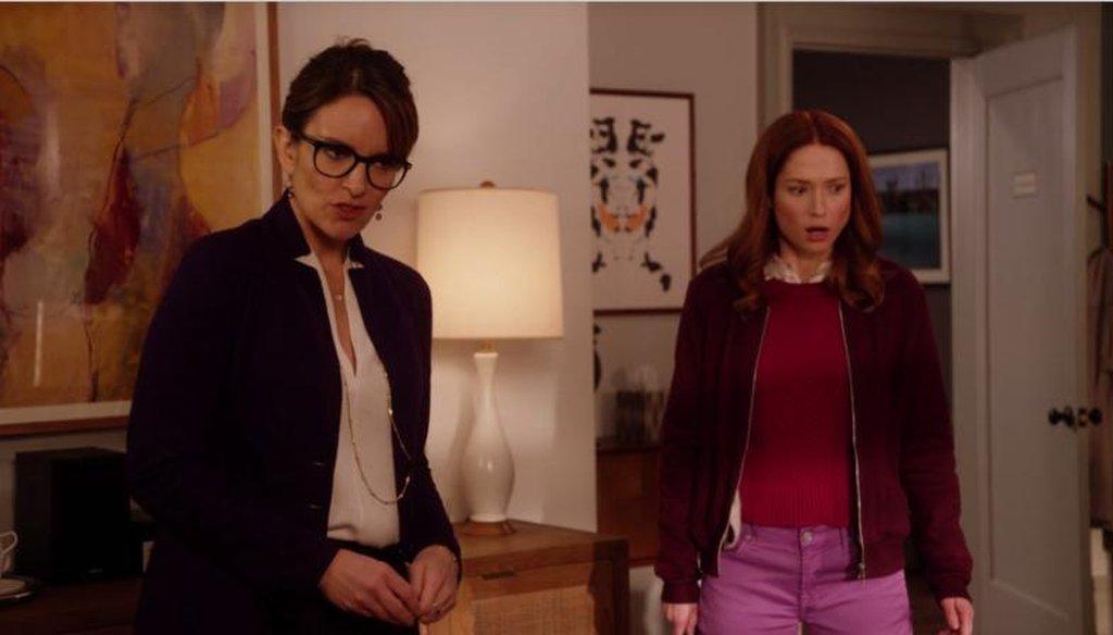"""Tina Fey plays Dr. Andrea Bayden, and Ellie Kemper plays Kimmy Schmidt in an episode of Netflix's """"Unbreakable Kimmy Schmidt."""" (screenshot)"""