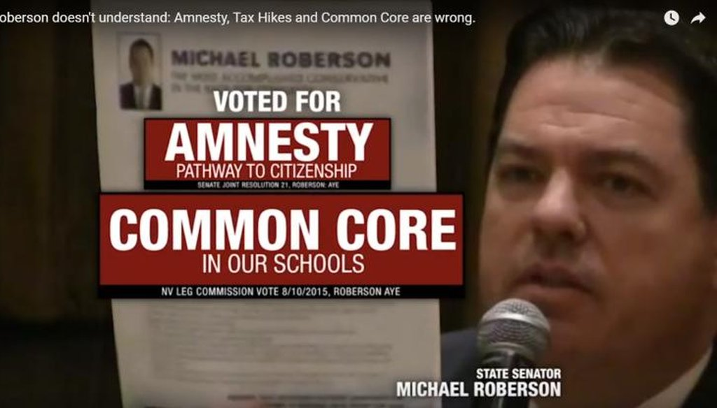 "In a new television ad, Nevada congressional candidate Danny Tarkanian accuses state Sen. Michael Roberson of having ""forced Common Core in Nevada schools."""