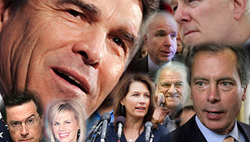 Clockwise from top left are Texas Gov. Rick Perry, Arizona Sen. John McCain, Texas Sen. John Cornyn, Texas Lt. Gov. David Dewhurst, Texas U.S. Rep. John Carter, Minnesota U.S. Rep. Michele Bachmann, and TV hosts Gretchen Carlson and Stephen Colbert.
