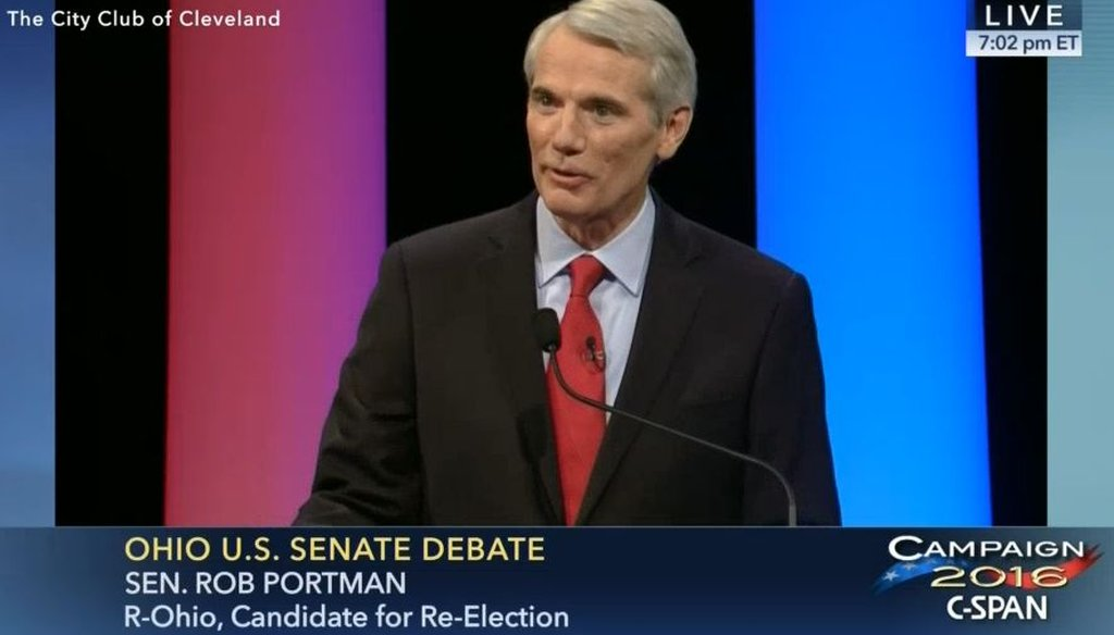 U.S. Sen. Rob Portman, R-Ohio, debated Democratic challenger Ted Strickland at the City Club in Cleveland on Oct. 20, 2016.