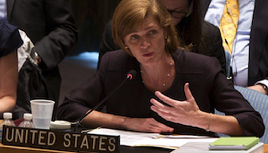 U.S. Ambassador to the United Nations Samantha Power addresses the U.N. Security Council on Aug. 6, 2013. (AP photo)