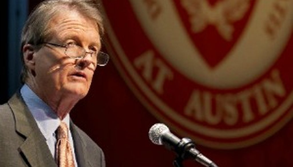 "Bill Powers, president of the University of Texas at Austin, boasted about the university's number of PhDs awarded annually during his Sept. 27, 2012, ""State of the University"" address (Austin American-Statesman photo, Jay Janner)."