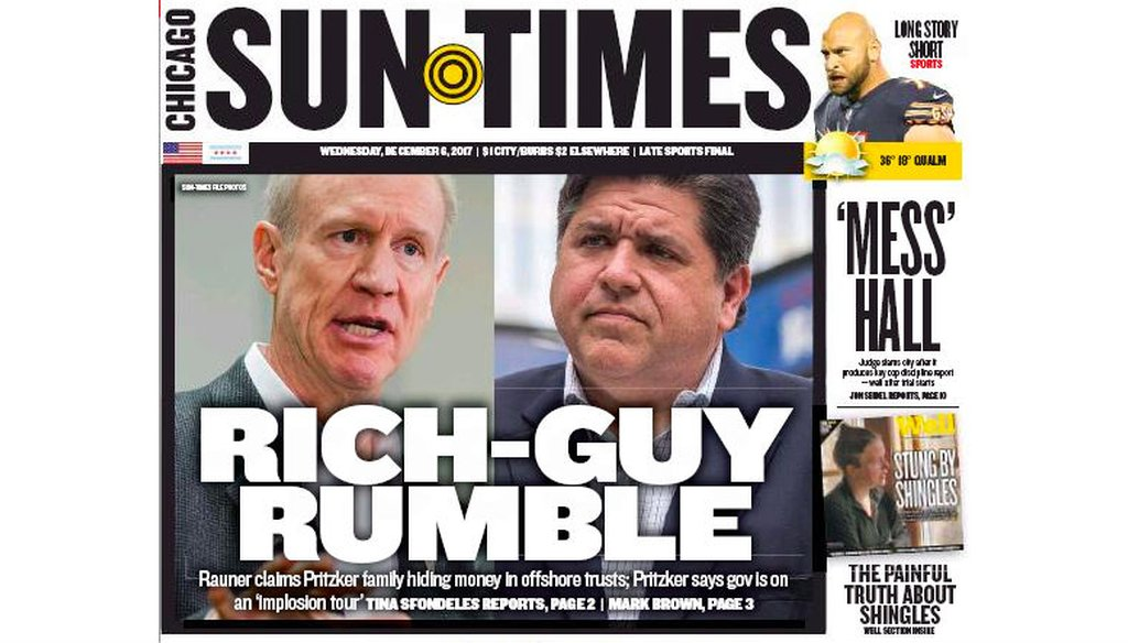 Illinois Gov. Bruce Rauner and Democratic primary hopeful JB Pritzker sparred over income tax disclosure in December 2017.