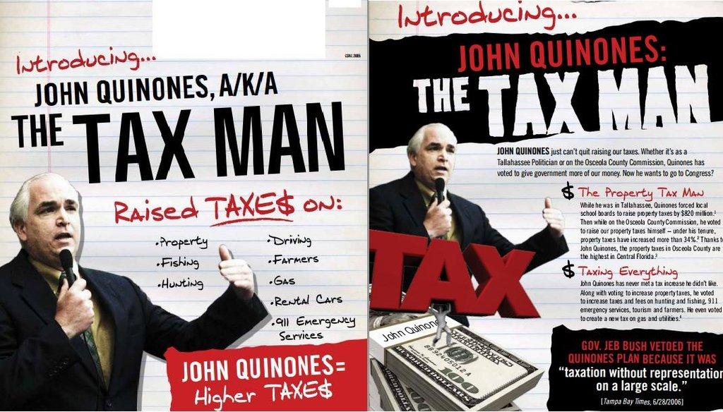 "Alan Grayson calls John Quinones the ""Tax Man"" in a campaign mailer."