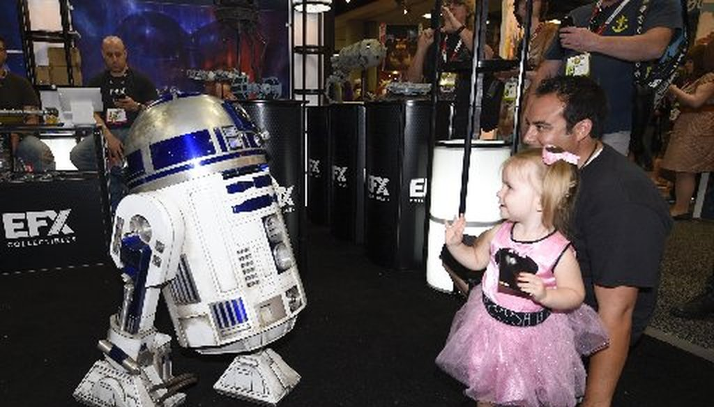 R2-D2, pictured, won't be checking claims. But there is research afoot to have computers speed fact-checking (photo by Denis Poroy/Invision/AP).