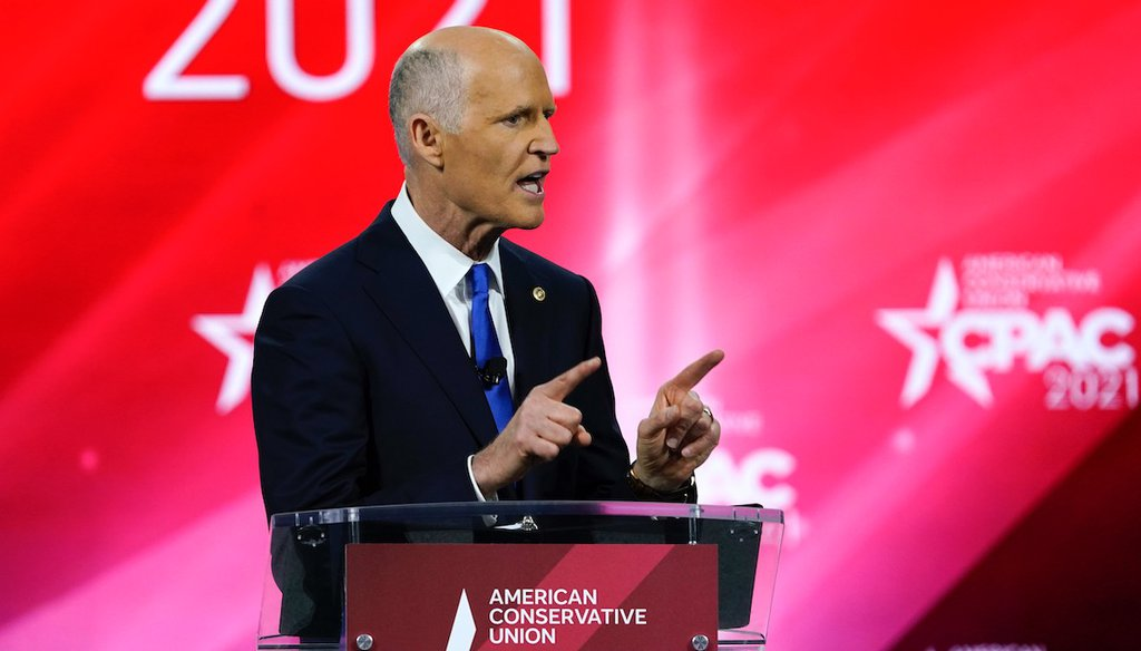 Sen. Rick Scott, R-Fla., speaks at the Conservative Political Action Conference (CPAC) Feb. 26, 2021, in Orlando, Fla. (AP Photo/John Raoux)