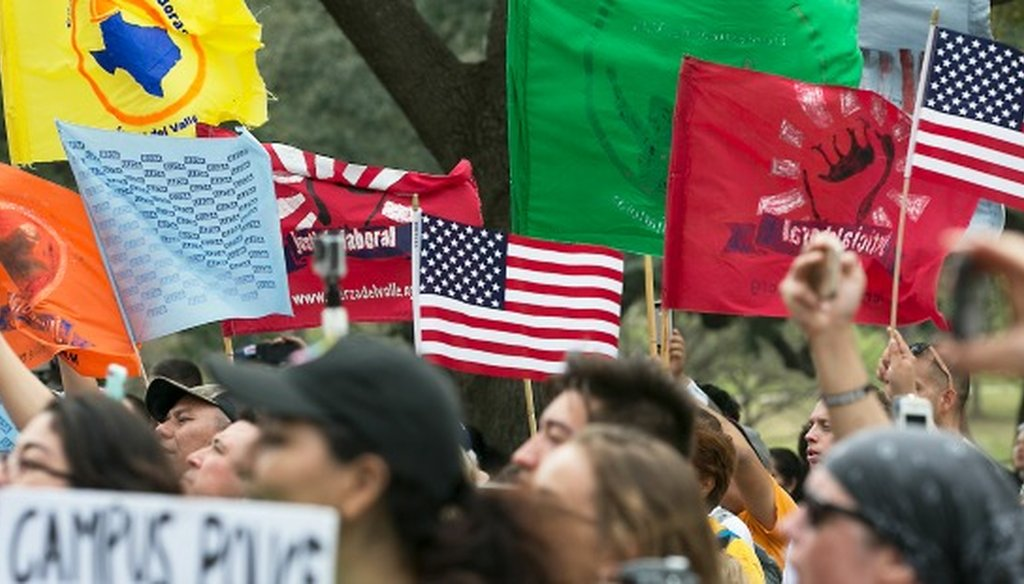 Hundreds of people marched in Austin on Feb. 28, 2017 against what participants described as the hate, xenophobia and nativism showing up in legislative priorities set by state leaders (Ralph Barrera, Austin American-Statesman).