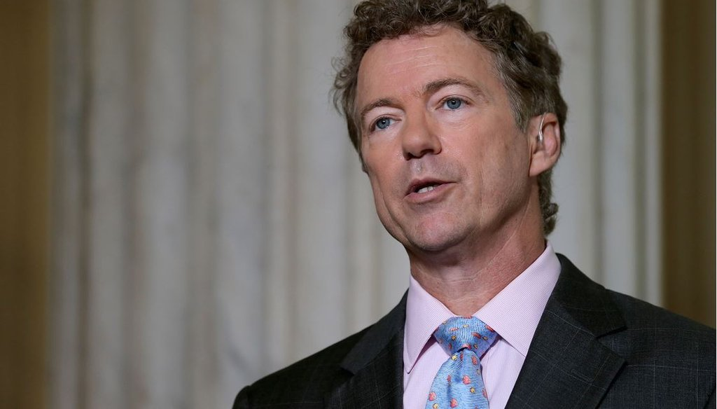 Sen. Rand Paul, R-Ky., does a live interview with Fox News in the Russell Senate Office Building rotunda on Capitol Hill June 1, 2015. (Photo by Chip Somodevilla/Getty Images)