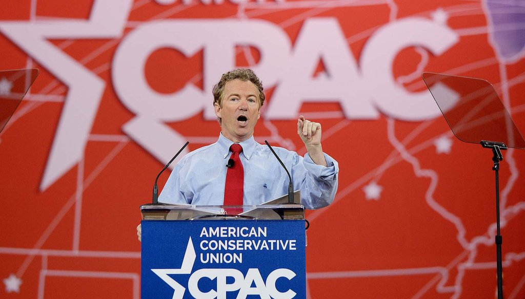 Sen. Rand Paul, R-Ky., speaks at the 42nd annual Conservative Political Action Conference (CPAC) Feb. 27, 2015 (AP Photo/Carolyn Kaster, File)