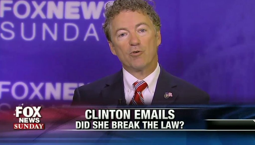 """Sen. Rand Paul, R-Ky., attacked Hillary Clinton and Planned Parenthood in a July 26 interview with Chris Wallace on """"Fox News Sunday."""" (Screengrab)"""