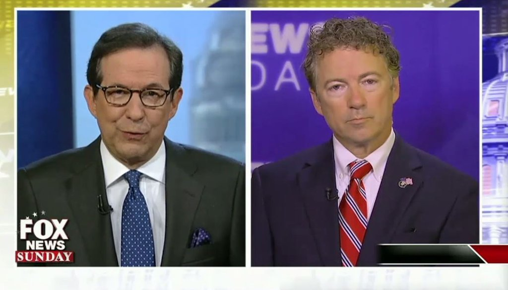 "Sen. Rand Paul, R-Ky., attacked Hillary Clinton and Planned Parenthood in a July 26 interview with Chris Wallace on ""Fox News Sunday."" (Screengrab)"